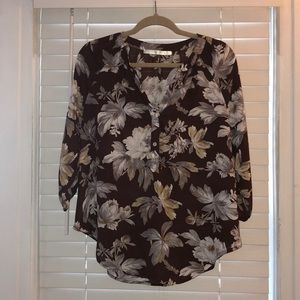 Brown floral blouse